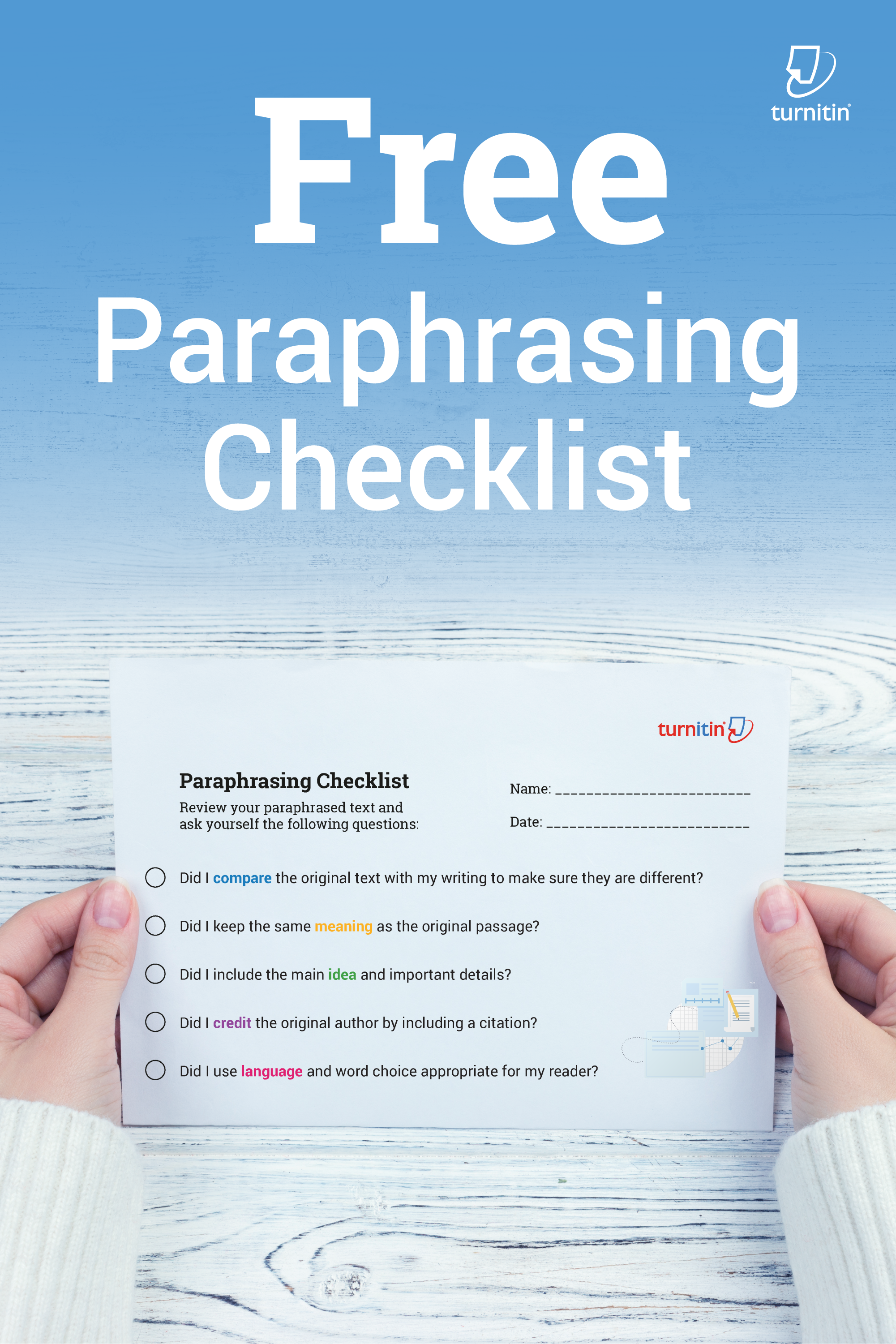 Paraphrasing Checklist Handout For Student Free Improve Writing A Paraphrased Passage Must Be Cited