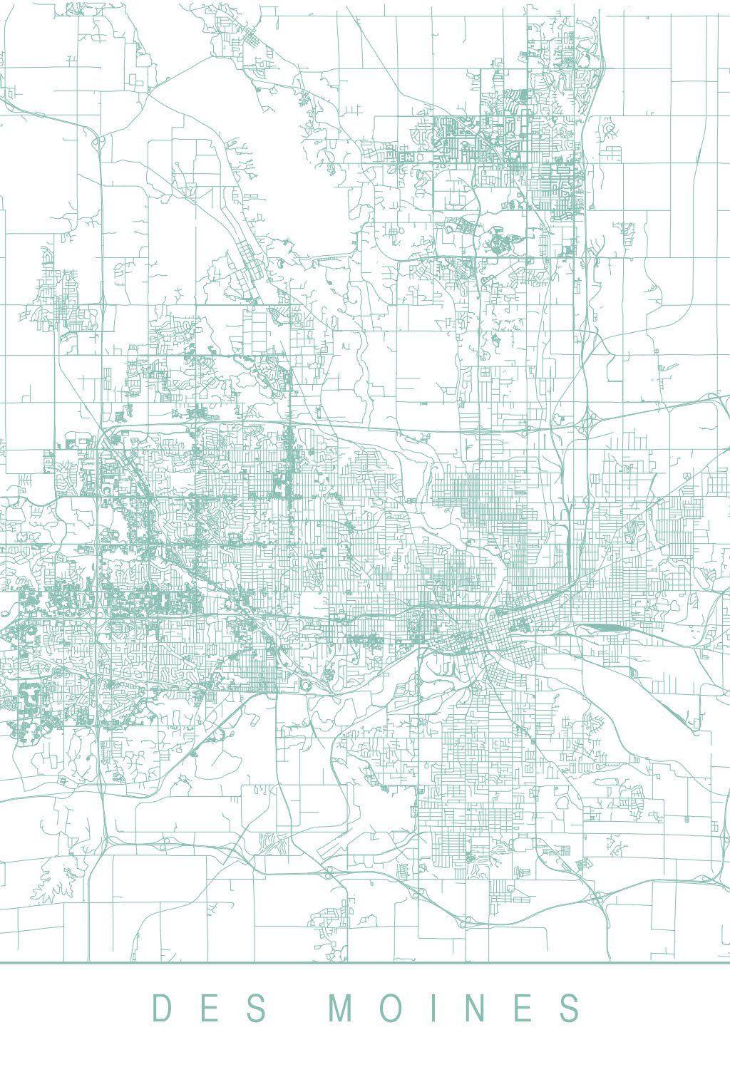 Karte Map Des Moines Iowa Vereinigte Staaten Von Amerika