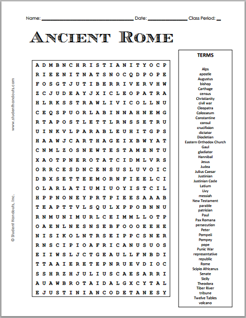Worksheets Ancient Rome Worksheets 1000 images about im done worksheets on pinterest ancient rome free printable word searches and s