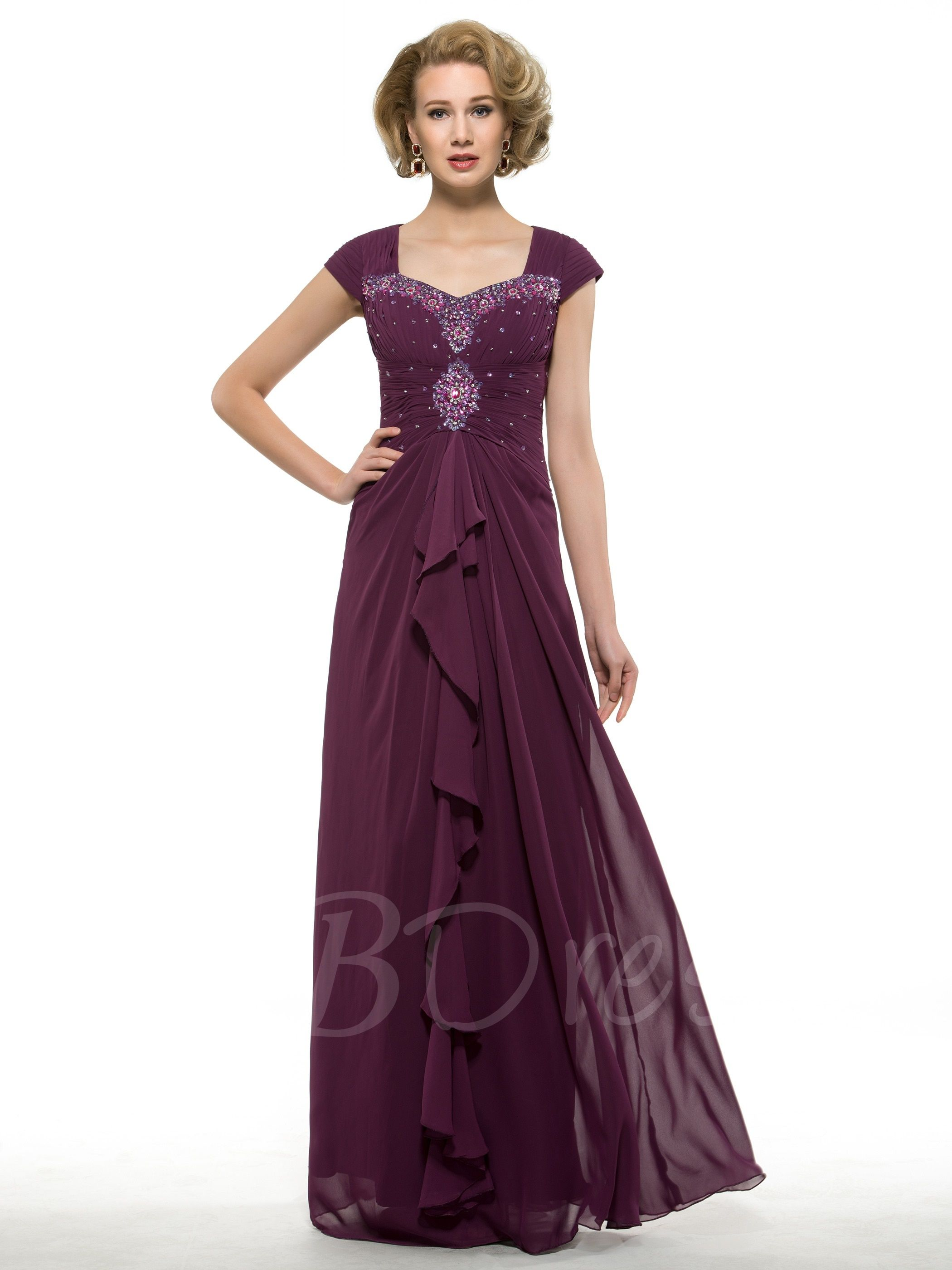 Ruched Beading Sheath Mother of the Bride Dress Mother