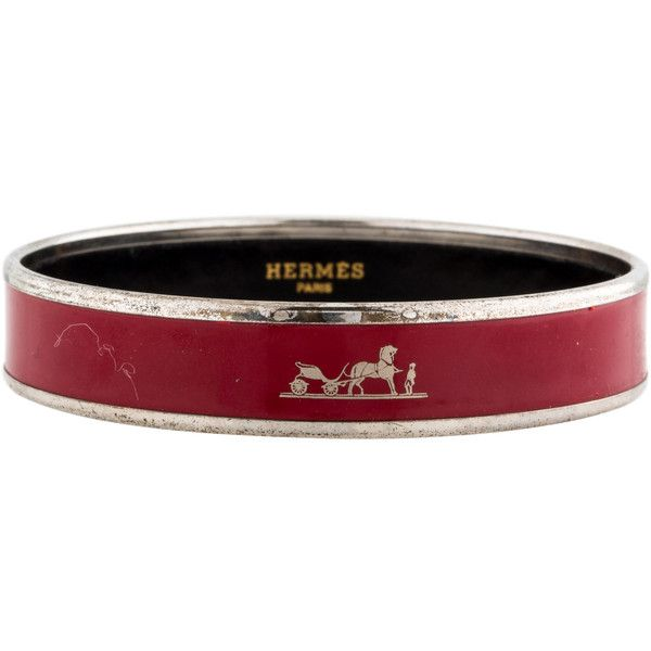 Pre-owned Herm�s Cal�che Enamel Bracelet (2 760 SEK) ❤ liked on Polyvore featuring jewelry, bracelets, red jewelry, enamel bangle, red bangles, hermes jewelry i horse jewelry