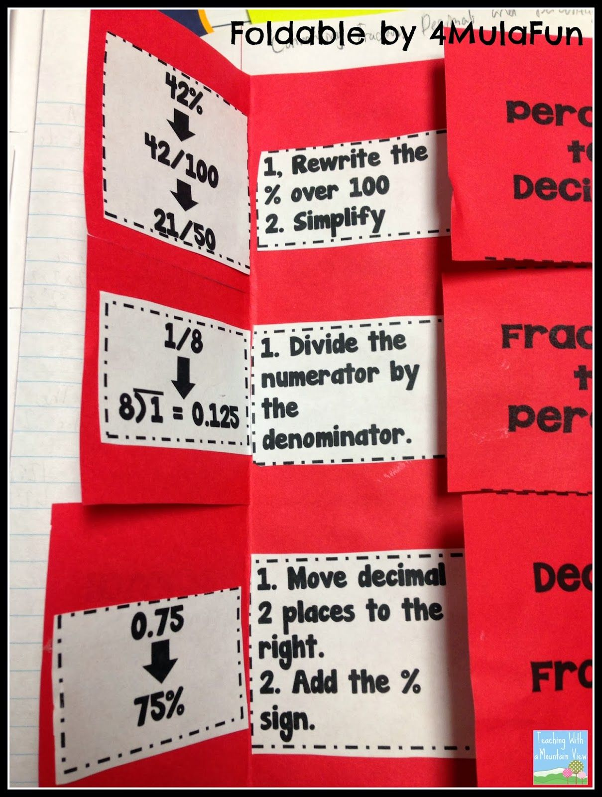 Percents Decimals Fractions And A Freebie With Images