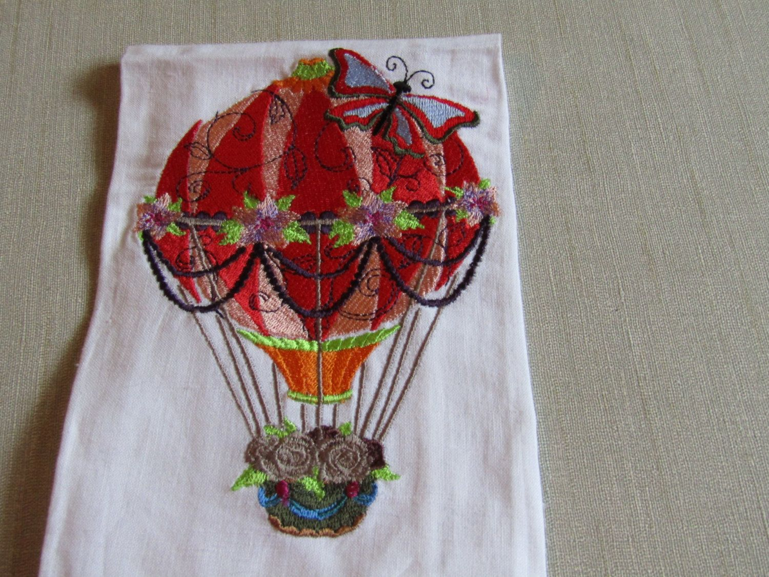 Balloon with flowers guest towel by AWondrousPlace on Etsy