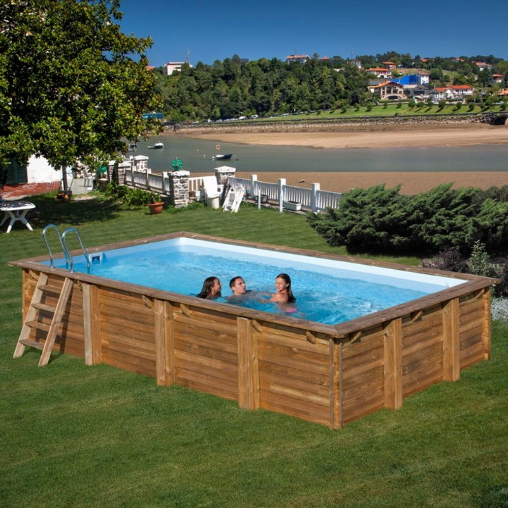 Pool Komplettset aus Echtholz Evora Rechteck 620 x 420 x