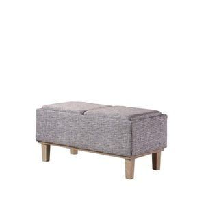 Fine 17 Inch Fabric Upholstered Seat Flip Storage Bench With Creativecarmelina Interior Chair Design Creativecarmelinacom