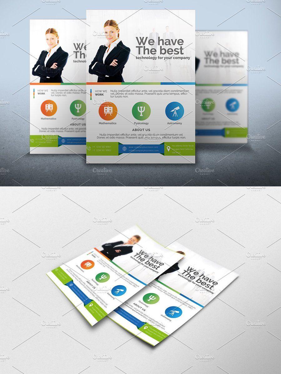 Flyer Corporative Template AI, PSD Flyer template, Web