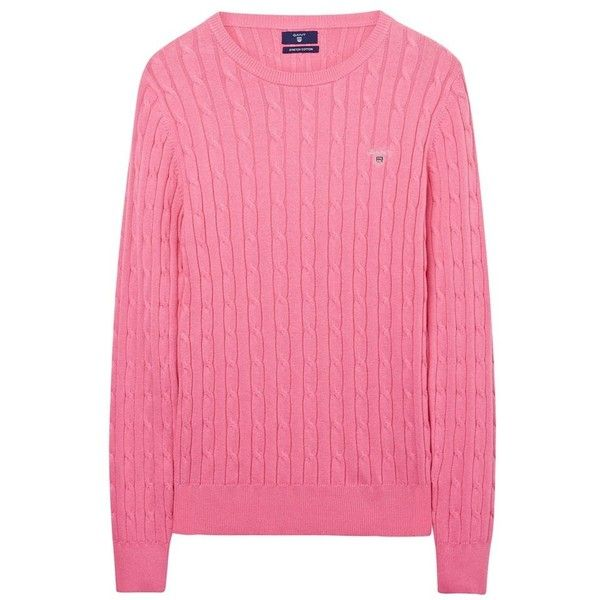 Women's GANT Stretch Cotton Cable Sweater ($59) ❤ liked on