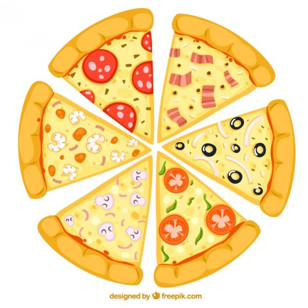 Slices Of Pizza Pizza Party Fractions Pizza Cartoon