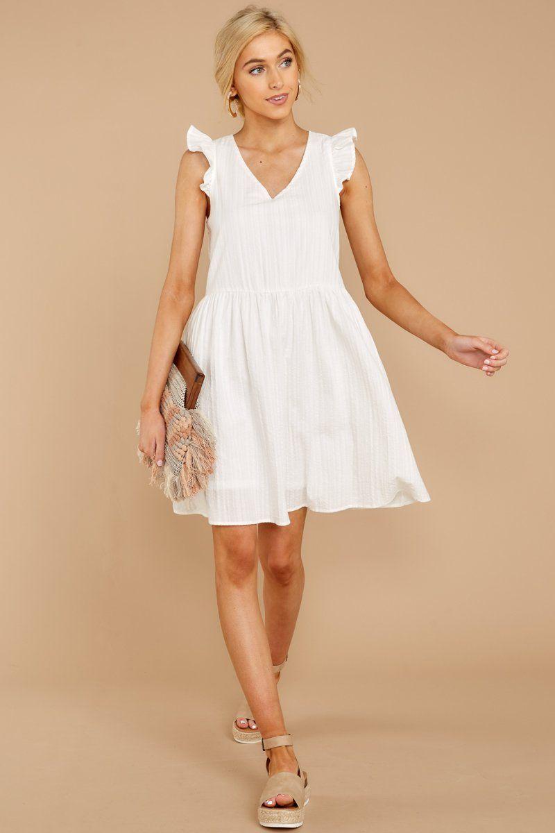 Darling White Shift Dress Short Ruffled Sundress Dress 46 00 Red Dress Boutique White Short Dress Summer Dresses Fashion