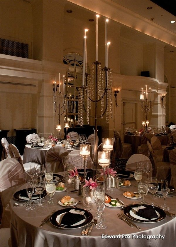 Silver linens with cascading crystal centerpieces are the ultimate in wedding chic #AllertonHotel #ChicagoWedding #WarwickHotels #love