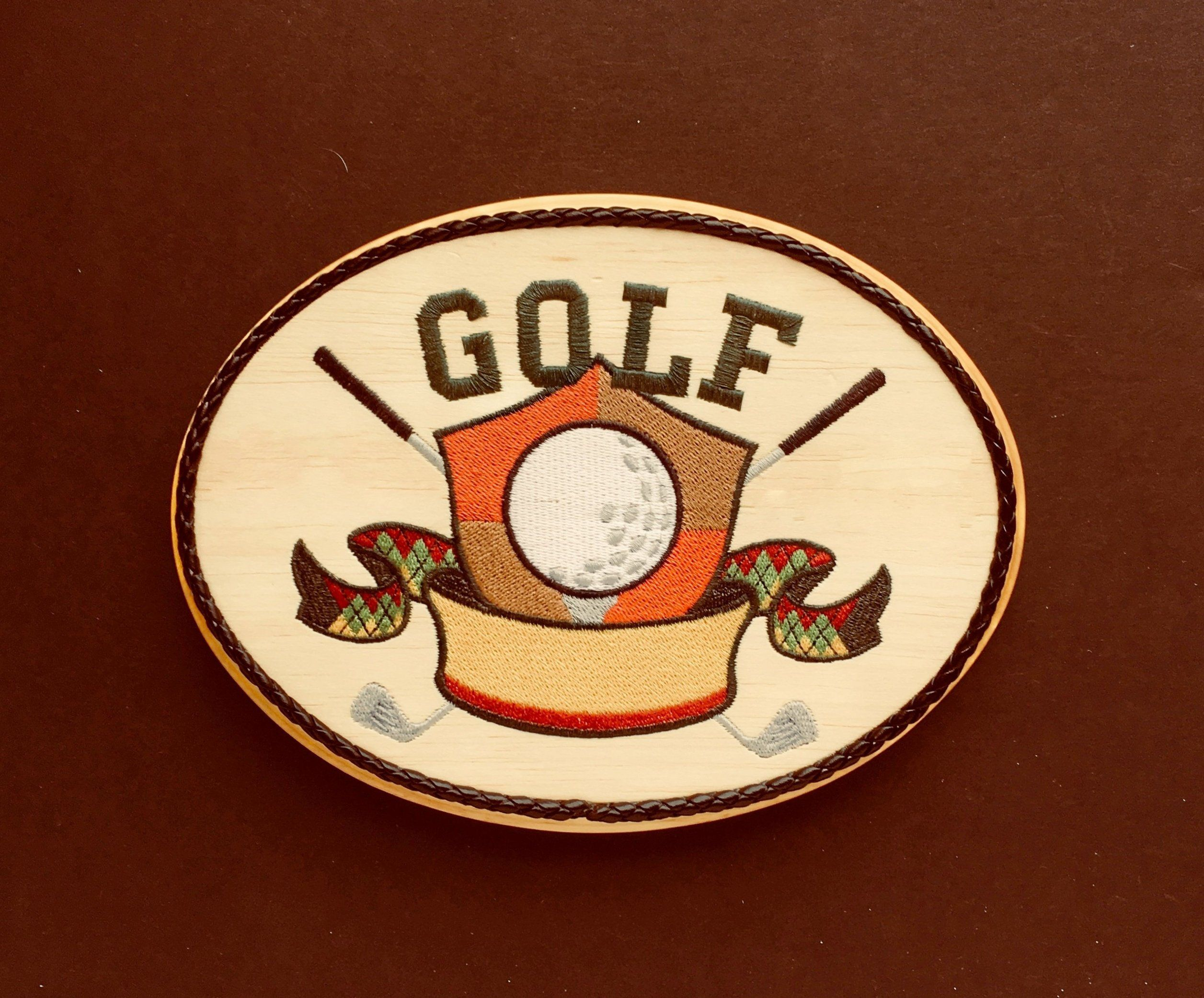Golf Wall Decor, Balsa Wood Embroidery Art, Golf Crest, Golfing Decor,  Office, Family Room, Den, Man Cave, Gift For Golfer, Lady Golf Gifts By ...