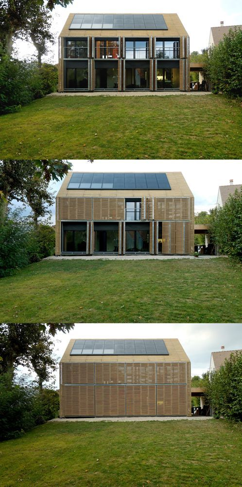 The Bamboo House is the first architect-designed and certified passive house in France, with a design incorporating numerous innovations. In this solid timber structure, technical and aesthetic aspects combine to form a unified whole: for example, the foldaway sunshades on the south-facing façade are integral elements of the basic architecture. The outer shell is entirely covered with cut-to-measure bamboo poles threaded onto steel wires ~ Karawitz Architecture #ecohome...x