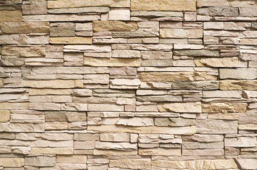 Steinwand Steinmauer Fototapete - Asian Stonewall beige hellbraun - wohnzimmer tapeten braun beige