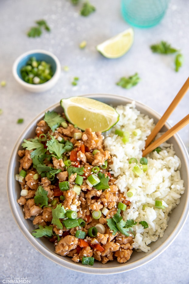 Asian Ground Turkey Rice Bowl | Healthy Meal Prep Recipe