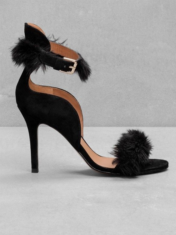 & Other Stories Suede Sandalettes with Feathers