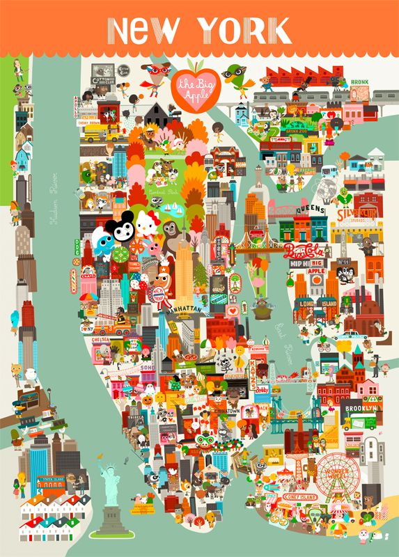 carte de new york city New York City Map for Kids   L'Affiche Moderne Art Prints (avec