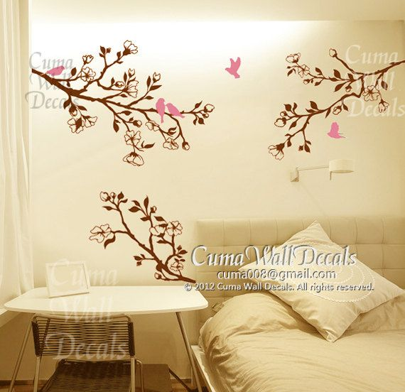 tree and birds Vinyl wall decals branch birds wall decals by cuma ...