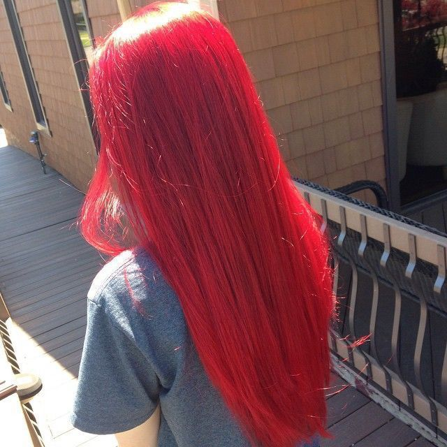 red long straight hair