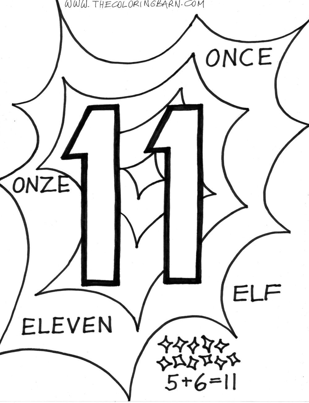 Free Printable Coloring Page Number 11 Coloring Page For Kids