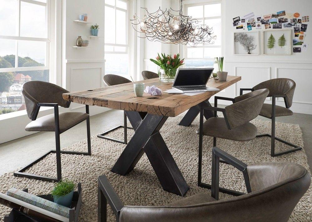 esstisch alteiche massiv mit x stahlgestell 10576 buy now at. Black Bedroom Furniture Sets. Home Design Ideas