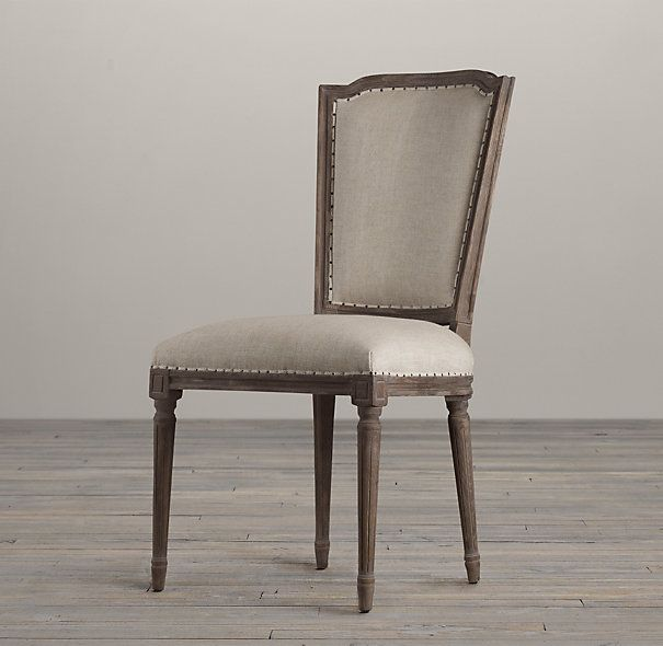 vintage french nailhead upholstered side chair fabric. Black Bedroom Furniture Sets. Home Design Ideas