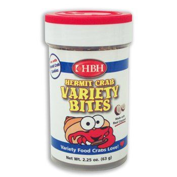 $3.99-$4.32 HBH Hermit Crab Variety Bites - Hermit Crab Variety Bites crab food is a natural blend of vitamin-enriched ingredients designed to provide essential nutrients which promote the growth, appetite, coloration, and health of your hermit crab.Easy to feed shaker top. http://www.amazon.com/dp/B0002QQN4O/?tag=pin2pet-20