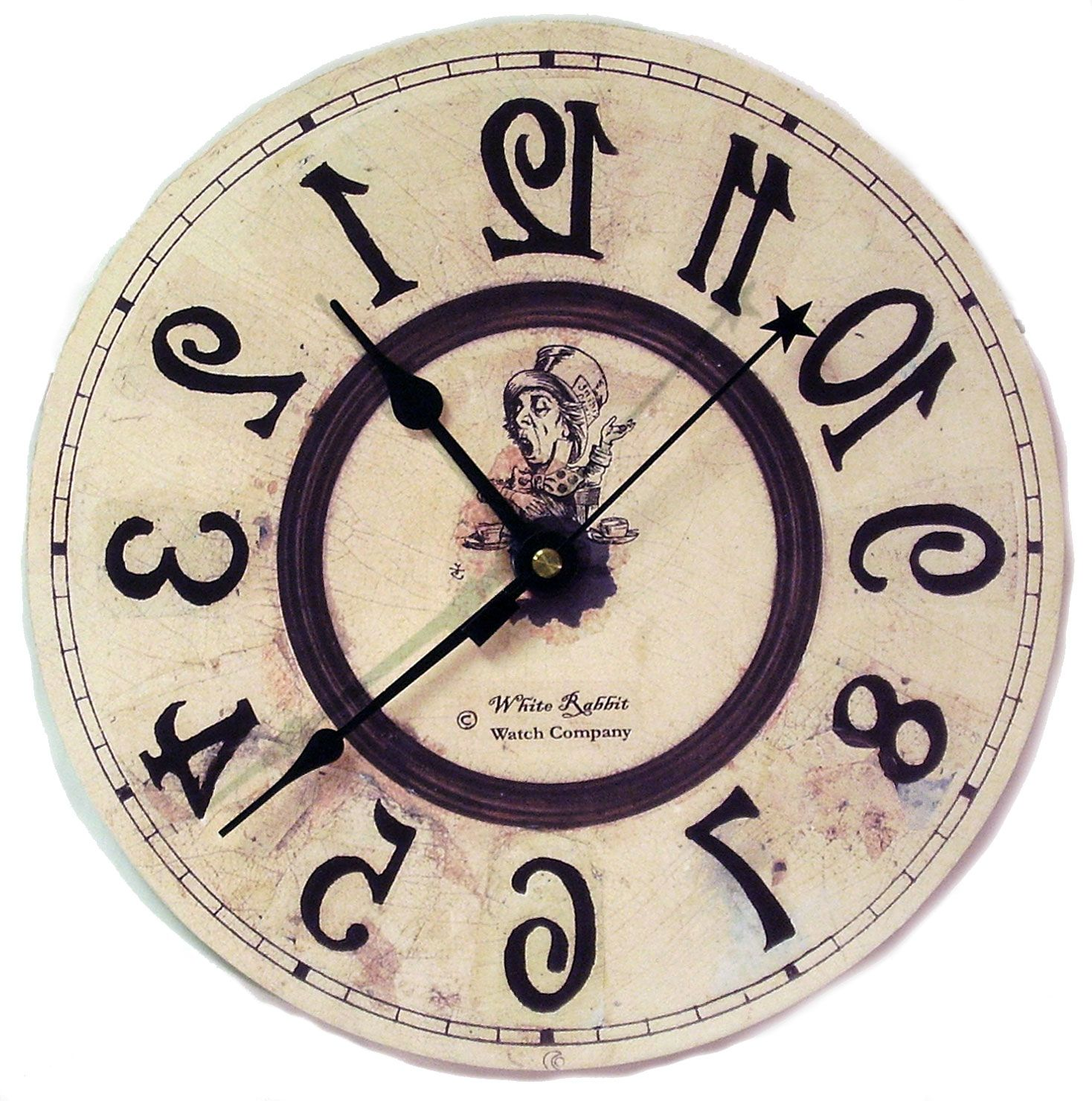 Backwards alice clock httpthewhiterabbitproductinfop hatter clock that goes backwards 17 gorgeous wall clocks for all your fandom needs amipublicfo Image collections