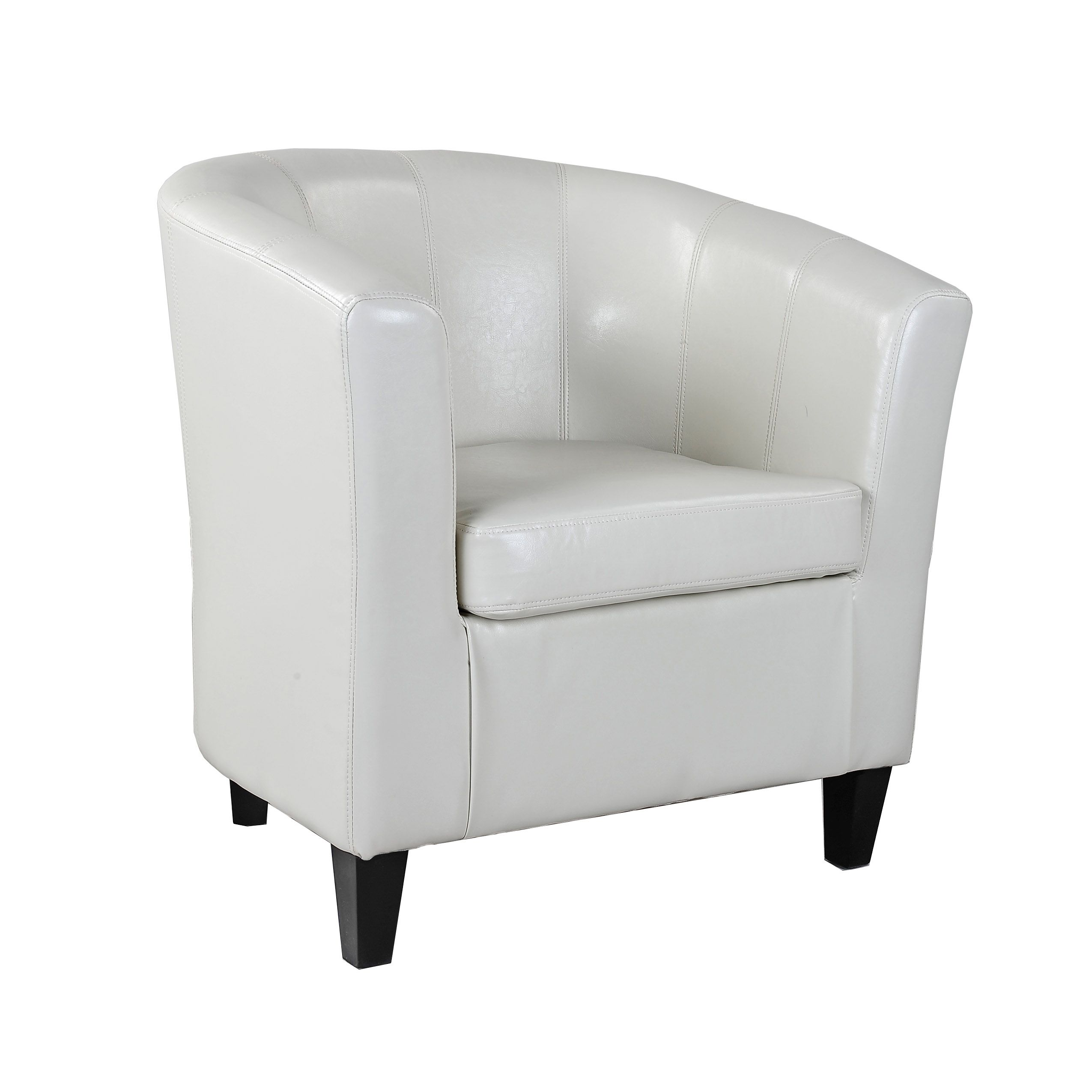 Corliving Antonio Tub Chair In Bonded Leather Cream White
