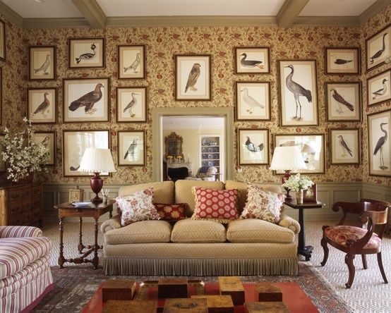 Framed bird prints, wallpaper, fringed trim on couch, touches of red with buttery yellow - Josie McCarthy Associates in Tennessee