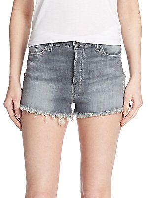 Hudson Distressed Zebra Striped Denim Cut-Off Shorts - Twin Coast - Si