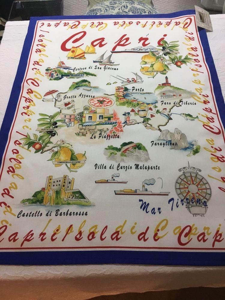 Le Telerie Toscane Cotton 22 X 30 Capri Map Decorative Kitchen