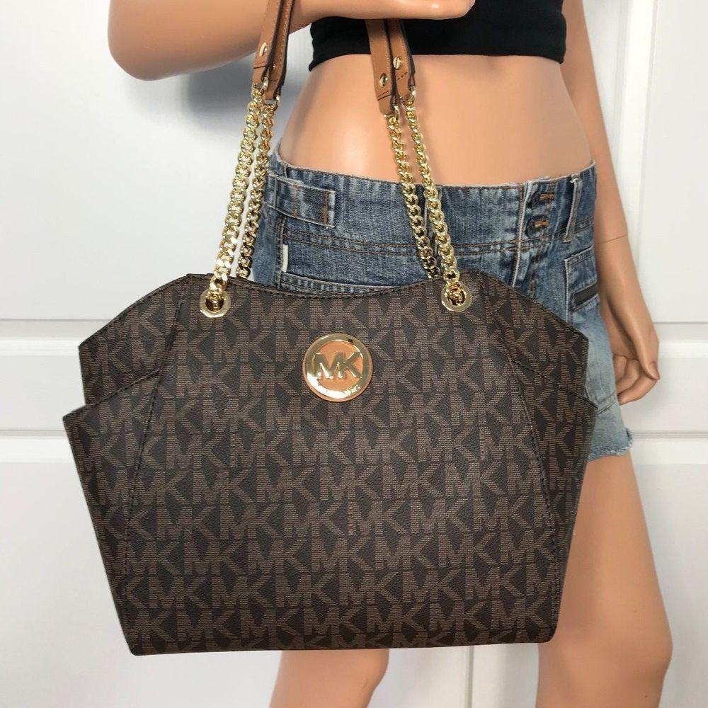 26843d485855 NWT Michael Kors Brown MK PVC Jet Set Travel Chain Shoulder Tote Bag  Handbag Bag #MichaelKors #TotesShoppers