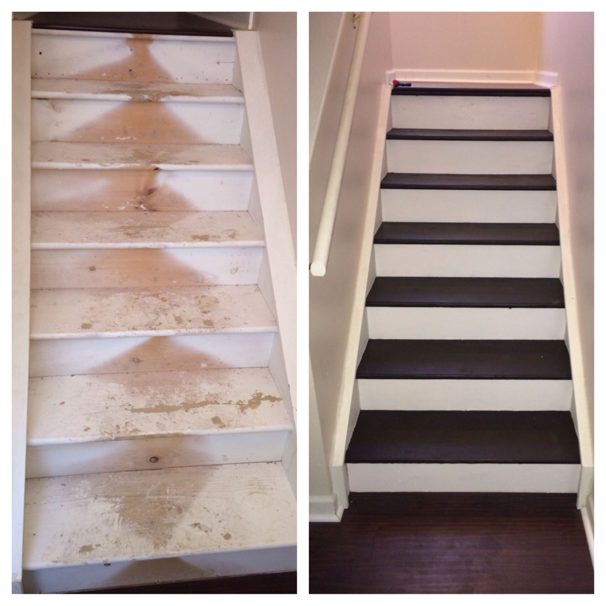 I Ripped The Carpet Off My Stairs And Refinished Them. I Used A Dark Brown
