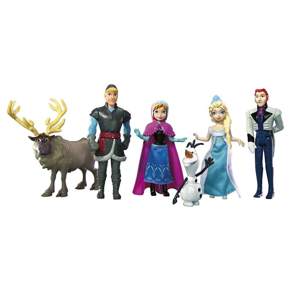 Frozen, um pack que inclui as figuras das Princesas Anna e Elsa, o Kristof e a sua rena, o Olaf o boneco de neve e o príncipe. Com as personagens principais do filme da Disney, é ideal para recriar algumas das cenas preferidas.