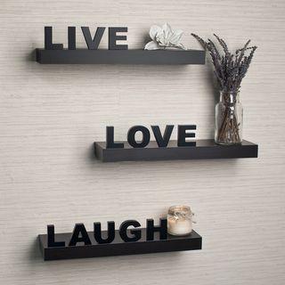 Laminate Live, Love, Laugh Inspirational Wall Shelves (Set of 3) by Danya B