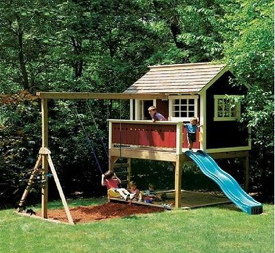 Details About Kids Outdoor Wooden Playhouse Swing Set Detailed Plan