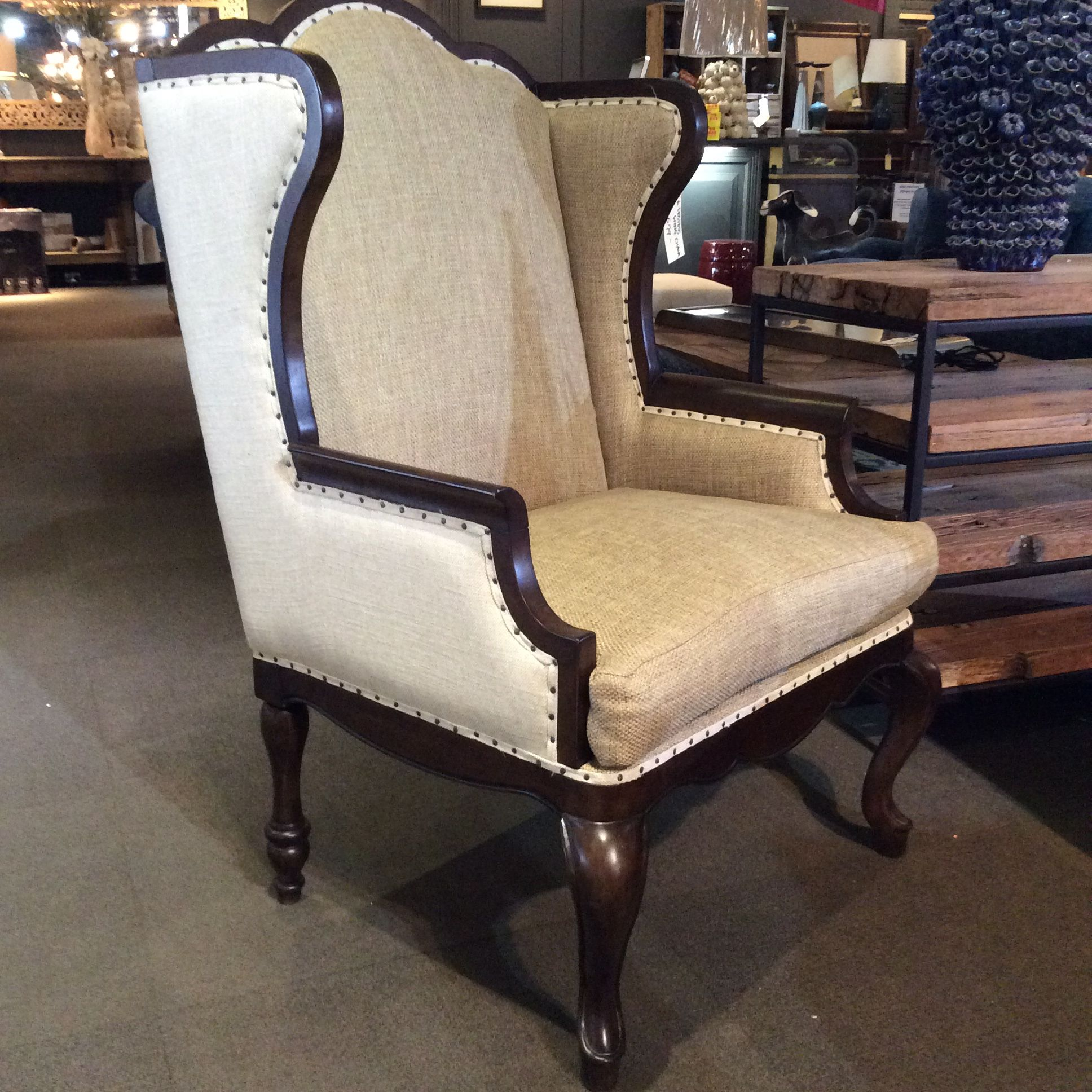 Curved Wood Bird Fabric High Back Accent Chair: The Host And Hostess Chair's High Curved Back And Full