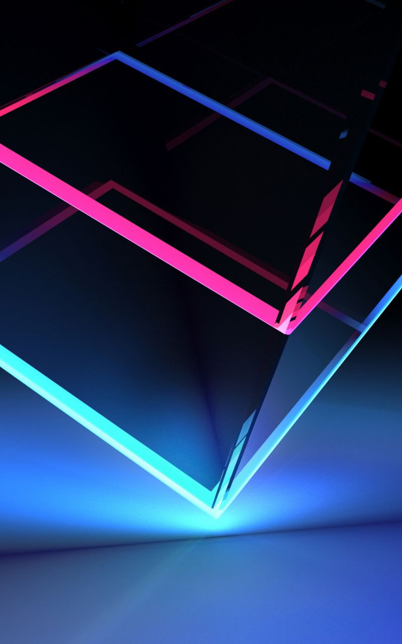 Edge, colorful, glassy, neon cubes, 800x1280 wallpaper