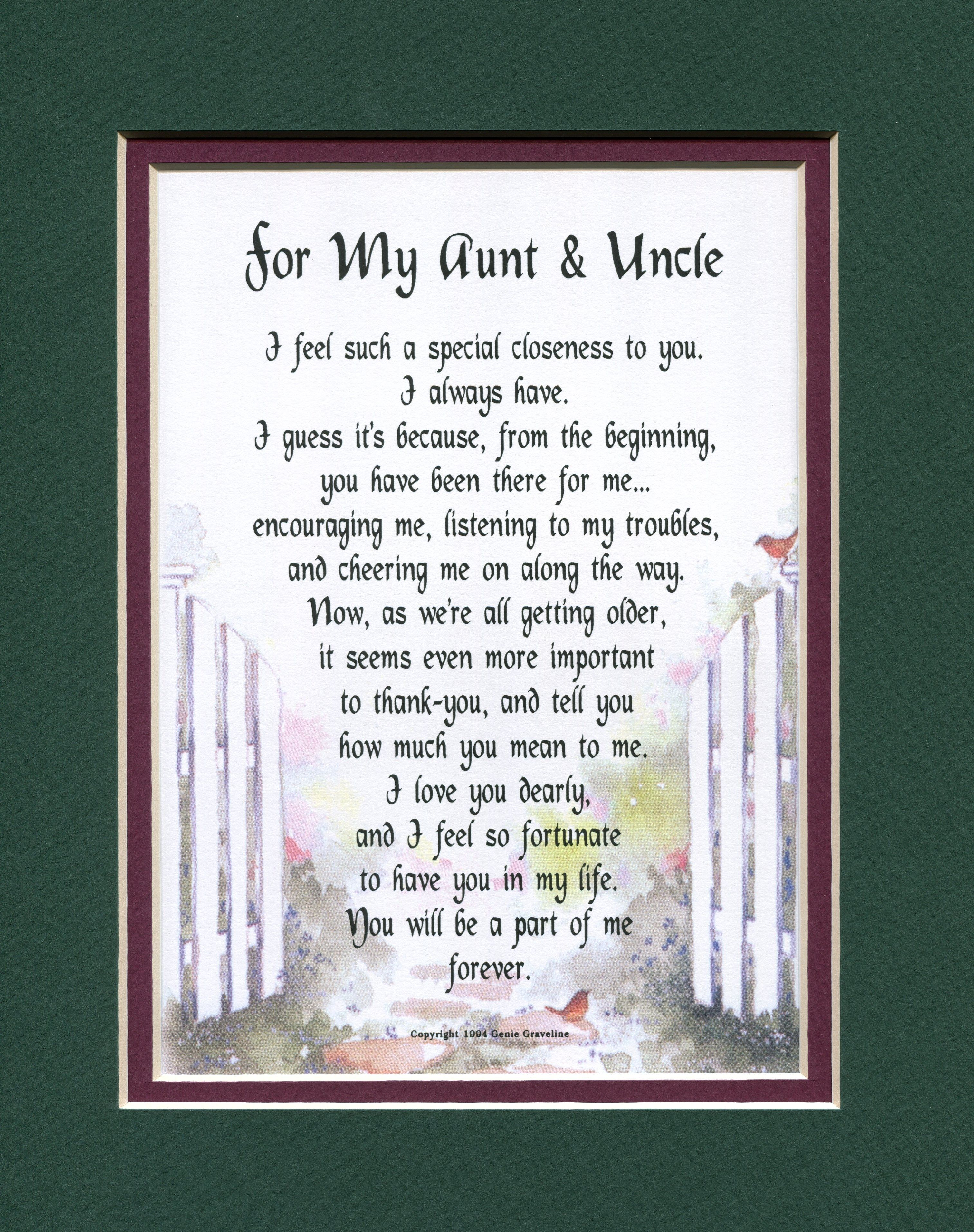 For My Aunt & Uncle | Other Family Members - Genie\'s Poems ...