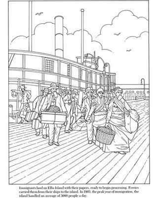 Ellis Island immigration coloring page: inkspired musings