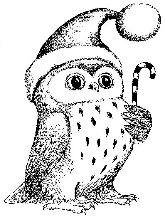Christmas Owl Rubber Stamp Wm P29 Etsy In 2020 Christmas Coloring Pages Merry Christmas Coloring Pages Owls Drawing