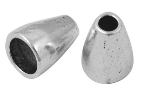 Tibetan Style Bead Caps, Lead Free & Cadmium Free, Cone, Antique Silver, 11mm x 8mm, hole: 5.5mm and 2.5mm (20pk) - Easy Beads