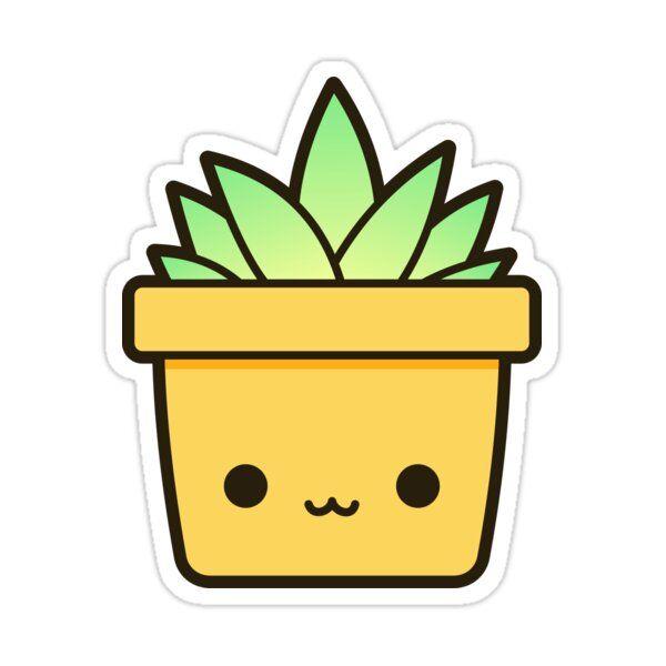 Succulent In Cute Pot Sticker by peppermintpopuk