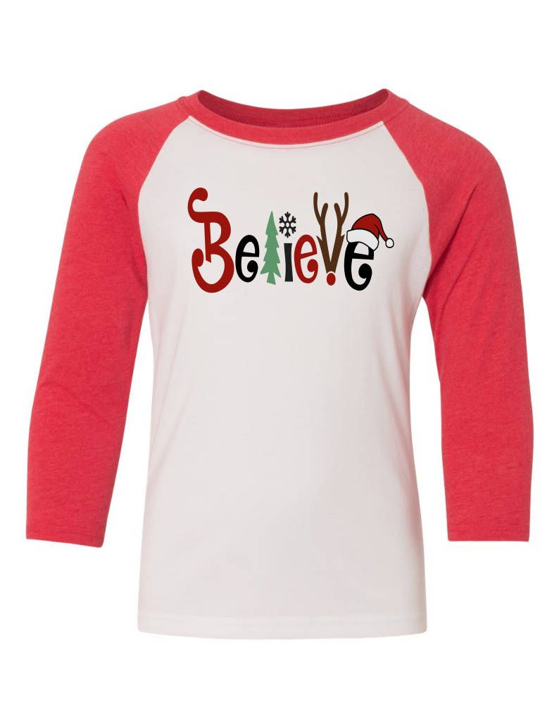 believe christmas shirt womens christmas shirt i believe believe in the magic of christmas christmas baseball tee by shopamandasattic on etsy