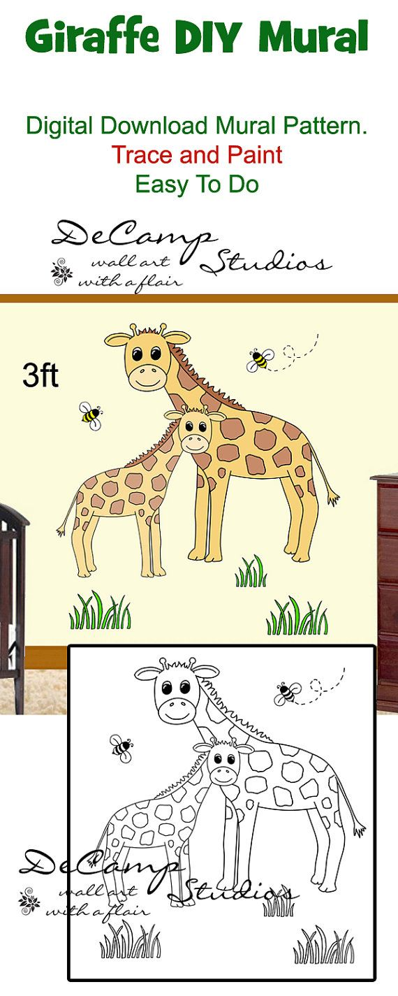 DIY Jungle Giraffe and Baby Wall Art Mural Pattern Printable Digital ...