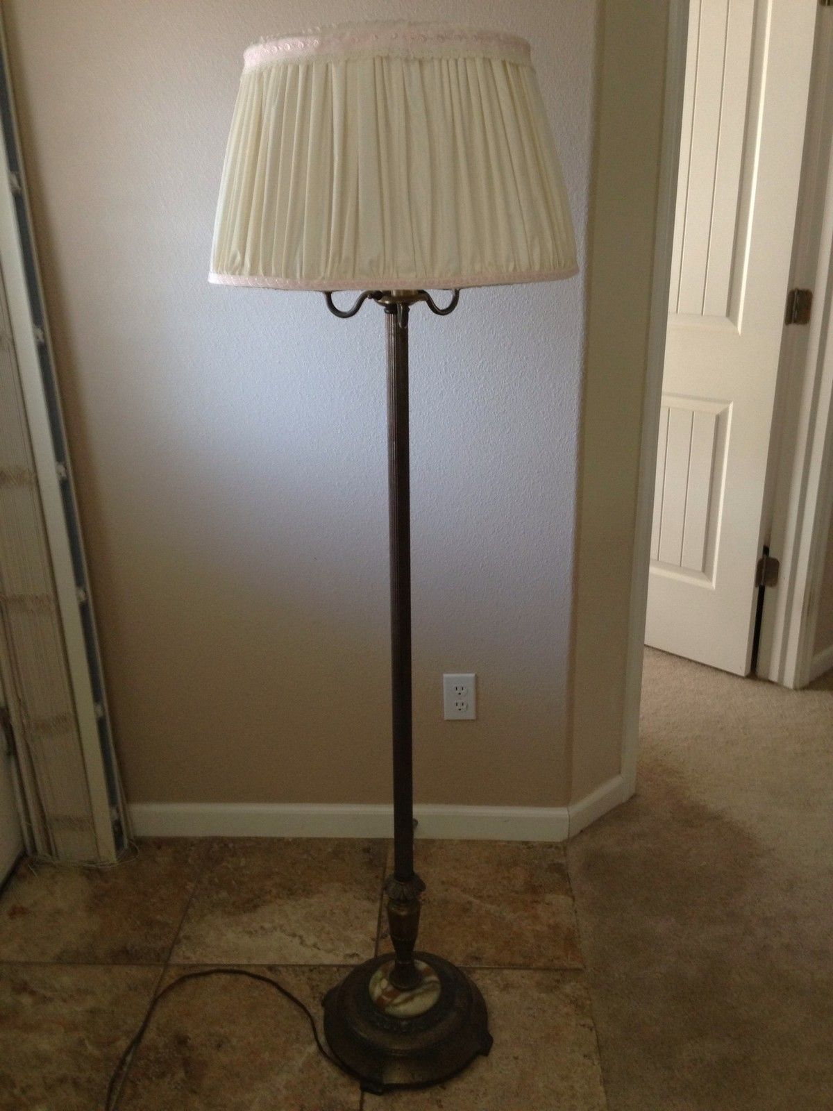 Antique Candelabra Torchiere Floor Lamp With Marble Base