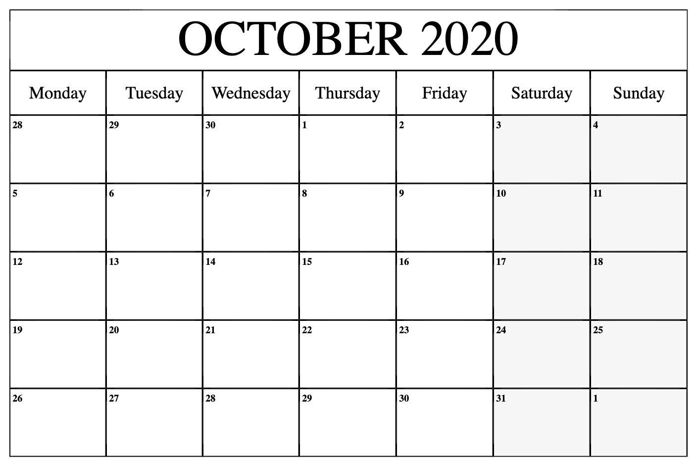 October 2020 Editable Calendar In 2020 Printable Calendar Word Calendar Word Printable Calendar Template