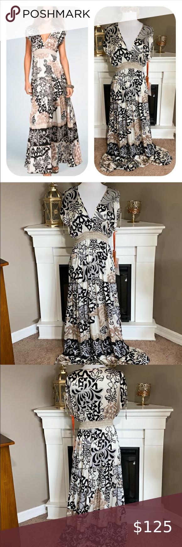 Hale Bob Cabana Stretch Silk Maxi Dress Ivory Black Gray And Taupe Stretch Silk Maxi With Subtle Shoulde Silk Maxi Dress Gauze Maxi Dress Hale Bob Dresses [ 1740 x 580 Pixel ]