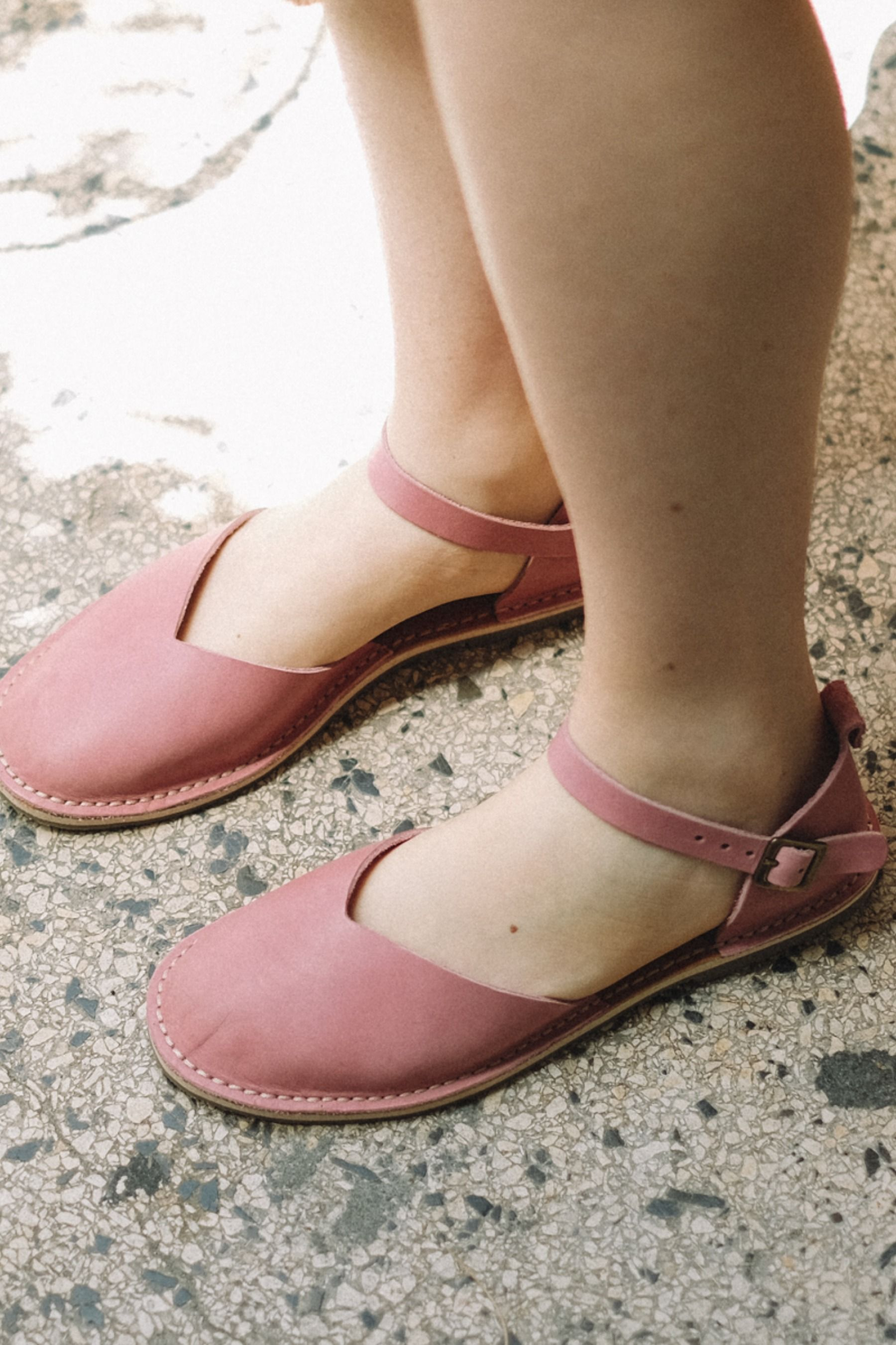 Pink sandals, Leather sandals