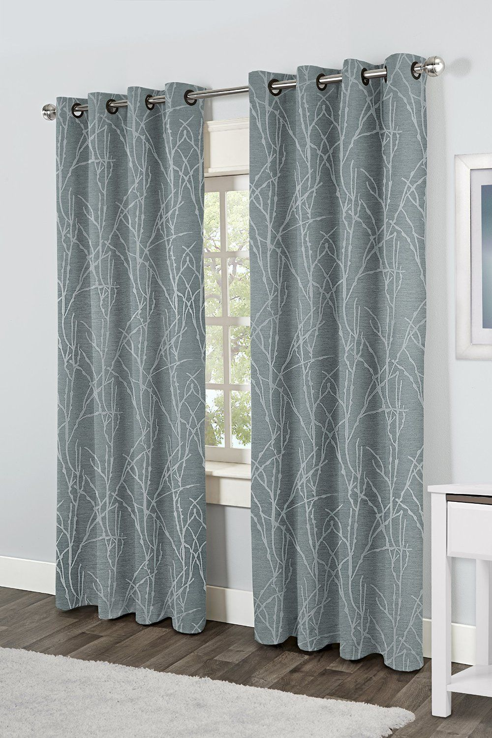Kitchen Window Curtain Panels Exclusive Home Finesse Grommet Top Window Curtain Panels Steel